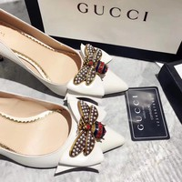 GUCCI Women Trending Fashion bee Casual Shoes Flat Sandal Slipper Heels White