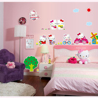 the new HOT pink hello Kitty cartoon wall household adornment wall removable wall stickers SM6