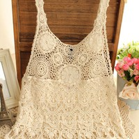 2017 New Fashion Hippie Boho People Sleeveless Embroidery Lace T Shirt Casual Top Blouse Vest Camis