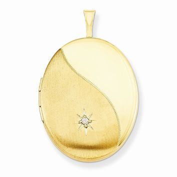1/20 Gold Filled 26mm Diamond Satin and Polished Oval Locket
