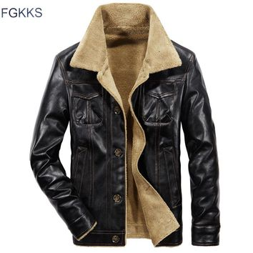 FGKKS 2018 Men PU Leather Jacket Winter Thick Warm Pilot Jacket Male Fur Collar Jacket tactical Mens Jacket Coat