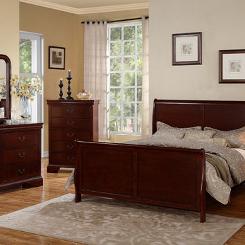Poundex 5pc Sleigh Bedroom Set Cherry