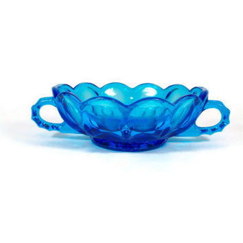 Blue Glass Bowl with Handles Cobalt Blue Cream Soup Bowl Candy Pickle Dish