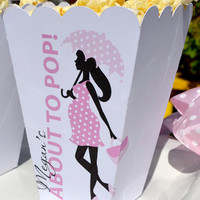 Personalized Baby Shower, About to Pop Popcorn Boxes for Baby Boy, Baby Girl, Girl with Umbrella