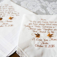 Embroidered Wedding Handkerchief Fall Wedding theme Gold Browns Wedding Colors Gifts Mother and Father of the Bride Wedding Handkerchiefs