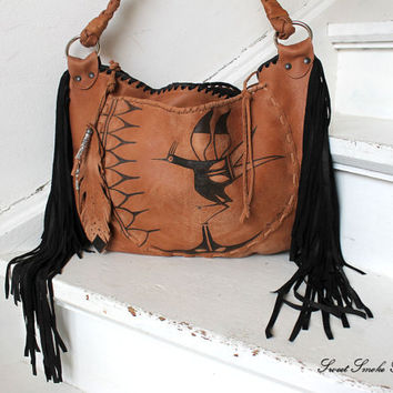 Aztec bird leather bag festival fringe purse asymmetrical unique painting mexican primitive art southwestern navajo bag fringe fringed purse