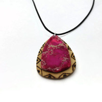 Wooden Necklace -  gem pendant - pink sea sediment stone-burned wood