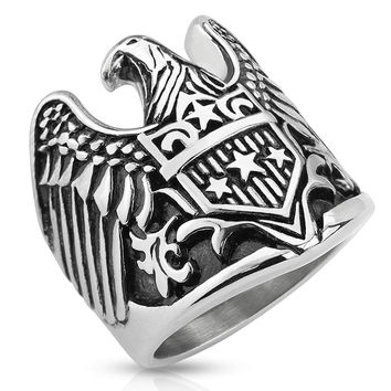 Eagle Warrior – Open wingspan eagle with star shield antiqued stainless steel men's ring