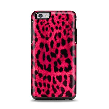 The Fuzzy Real Pink Leopard Print Apple iPhone 6 Plus Otterbox Symmetry Case Skin Set