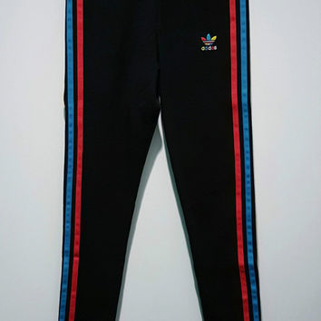 adidas Originals Multicolor Three Stripe Gym Yoga Running Leggings Sweatpants