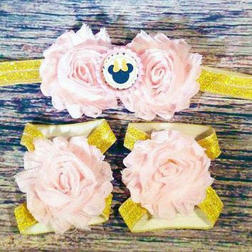 Pink and Gold Minnie Mouse Headband and Barefoot Sandals Set