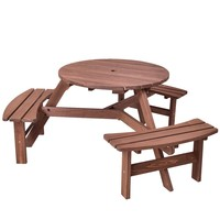 Patio 6 Person Outdoor Wood Picnic Table Beer Bench Set Pub Dining Seat Garden