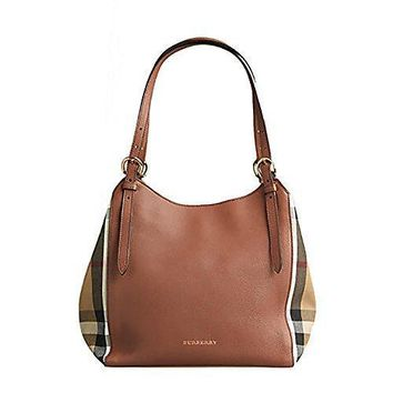 Tote Bag Handbag Authentic Burberry Small Canter In Leather And House Tan Color Made In Italy #46741 - Best Deal Online