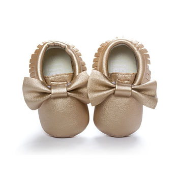 Handmade Soft Bottom Fashion Tassels Baby Moccasin Newborn Babies Shoes 14 Colors PU leather Prewalkers Boots