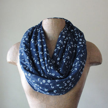 FLORAL Loop Scarf - Denim Blue Infinity Scarf with Dainty White Flowers - Muted Blue Cotton Circle Scarf