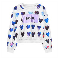 White Heart Print Cropped Sweatshirt