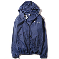 """Champion""new thin men and women sunscreen beach outdoor sports jacket Blue"