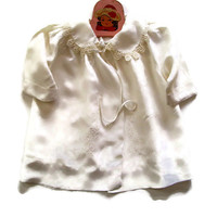 Vintage Baby Christening Baptism Heirloom Jacket White Embroidered Satin