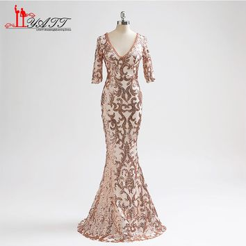Sparking Sequins Long Mermaid Prom Dresses 2018 Robe de Soiree Crystal Beaded Half Sleeve Sweep Train Formal Evening Party Gown