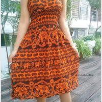 Orange Elephant Print Midi Skater Dress Shirred waistband V-neckline Elastic On Straps  Hippie Exotic Clothing  Ethnic Boho Aztec For Summer