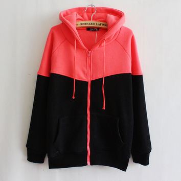 womens casual sports rose patchwork black hoodie autumn winter sweater sweatshirt lady girls outwear gift 53