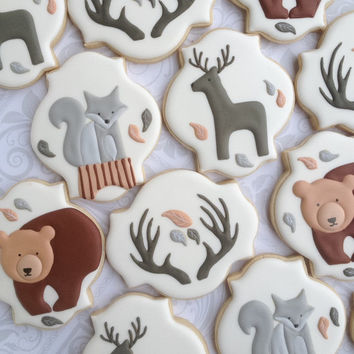 Elegant Woodland Animal Cookies with Silver Fox- One Dozen  Decorated Sugar Cookies