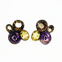 Sterling Silver Clip On Earrings w/Amethyst and Yellow and Brown Citrine, Hand Crafted, Modernist Jewelry, Vintage 1990s, 925