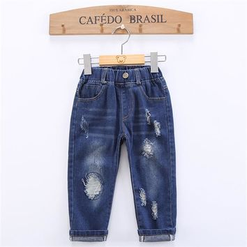 Modern Kids Babes Boys and Girls Spring and Autumn Cotton Hole Jeans Children Baby Full Length Solid Distrressed Loose Clothing