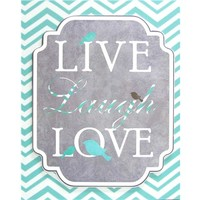 Turquoise Live Laugh Love Chevron Print Canvas | Shop Hobby Lobby