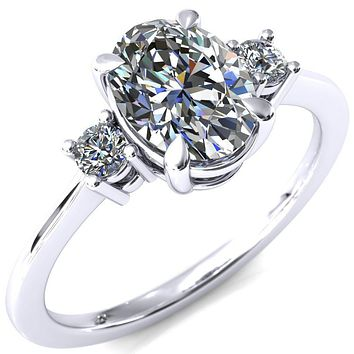 Poppy Oval Moissanite 4 Claw Prong 2 Rail Basket Round Sidestones Inverted Cathedral Engagement Ring