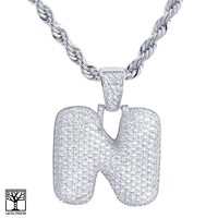 """Jewelry Kay style N Initial Silver Plated Custom Bubble Letter Iced CZ Pendant 24"""" Chain Necklace"""