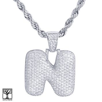 "Jewelry Kay style N Initial Silver Plated Custom Bubble Letter Iced CZ Pendant 24"" Chain Necklace"
