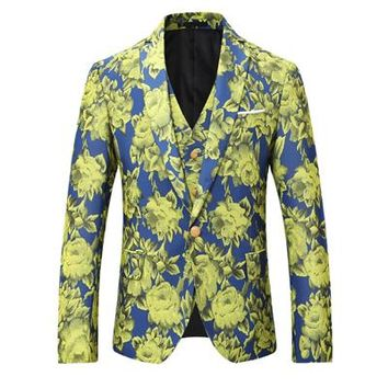 Men's Floral Print Three-Piece Single-Breasted Suit