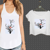 love birds in tree For Woman Tank Top , Man Tank Top / Crop Shirt, Sexy Shirt,Cropped Shirt,Crop Tshirt Women,Crop Shirt Women S, M, L, XL, 2XL*NP*