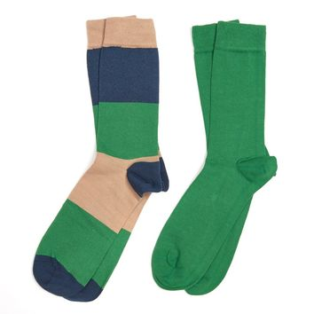 Cleadon Socks Gift Pack in Brown Stripe and Green by Barbour