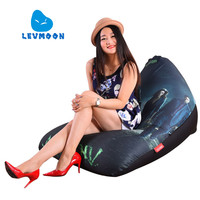 LEVMOON Beanbag Sofa Chair Green Arrow Seat Zac Comfort Bean Bag Bed Cover Without Filler Cotton Indoor Beanbag Lounge Chair