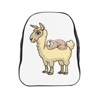 Llama Backpack - Sloth Riding Llama School Backpack