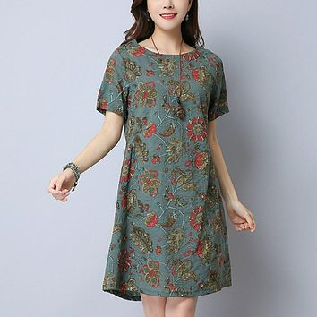 S-5XL Women Short Sleeve Cotton Linen Mini Dress Print O-neck Loose Dress 2017 Chinese Vintage Elegant Short Shift Vestidos