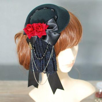 Rose bowknot Mini Top Hats Lady Vogue Fedoras Lace Chains Gothic Princess Hat Handmade