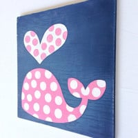 Nautical Nursery Art - Whale Decor - Kid's Bathroom Art - Girl Baby Shower Gift - Distressed Wood Wall Art - Pink and Navy Blue Nursery Art