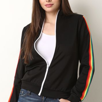 Rainbow Ribbon Striped Sleeve Zip Up Track Jacket