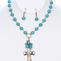 Turquoise Beaded Cross Earring & Necklace Set