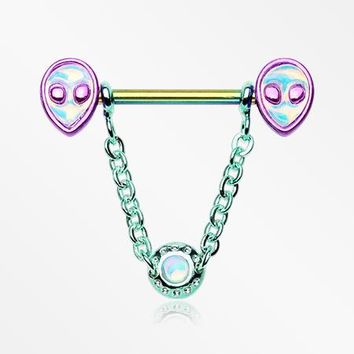 A Pair of Rainbow Iridescent Alien Revo Dangle Chain Nipple Barbell