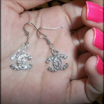 Hot CC Chanel Inspired Silver Dangle Earrings