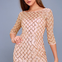 Party Favor Rose Gold Sequin Bodycon Dress