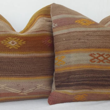 Organic Dyed Handwoven Turkish Kilim Pillow, Mustard Yellow Cappucino Brown Decorative Kilim Pillow 40 x 40 Kilim Throw Pillow