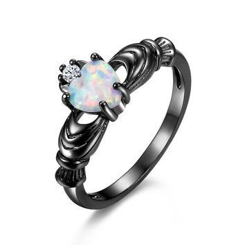 ERLUER Fashion Vintage Promise rings Wedding Engagement Heart Rainbow Blue Fire opal Jewelry ring Black Gold Filled silver Bague