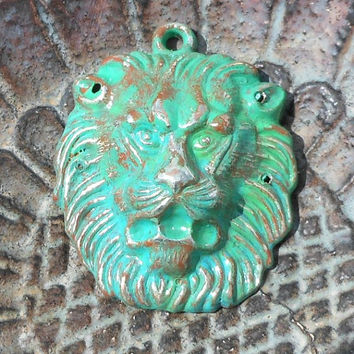 Green Patina Lion Face Pendant, Weather Effect, 55mm, Mixed Media Accent, Beading DIY Rustic Girl Supplies, Hand Patinaed