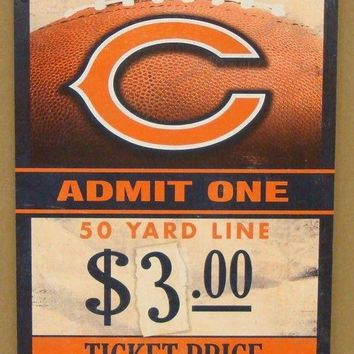"CHICAGO BEARS GAME TICKET ADMIT ONE GO BEARS WOOD SIGN 6""X12'' NEW WINCRAFT"