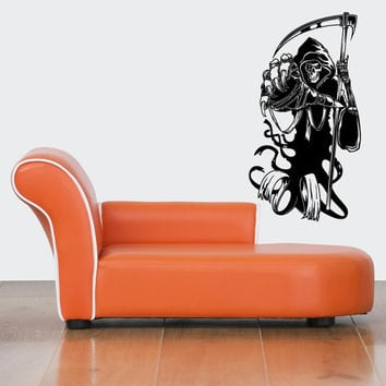 Wall Decor Art Vinyl Sticker Decals Design Scary Skeleton Grim Death Reaper 523